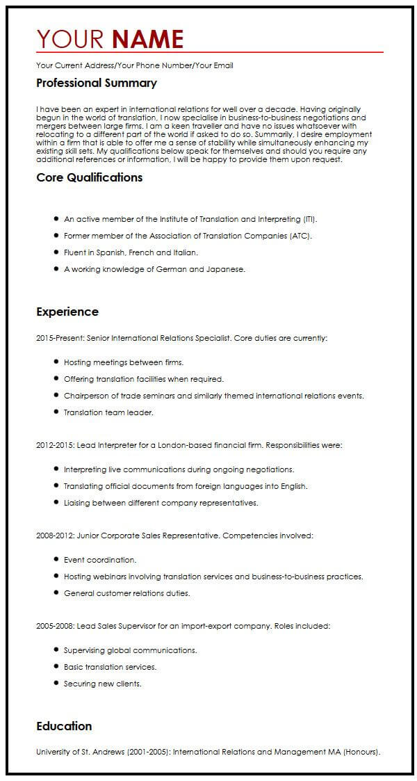 view our senior international relations specialist cv example resume format sample Resume International Resume Format