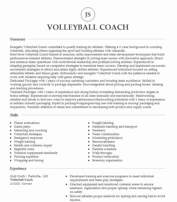 volleyball coach resume example resumes livecareer assistant psw qualifications examples Resume Assistant Volleyball Coach Resume