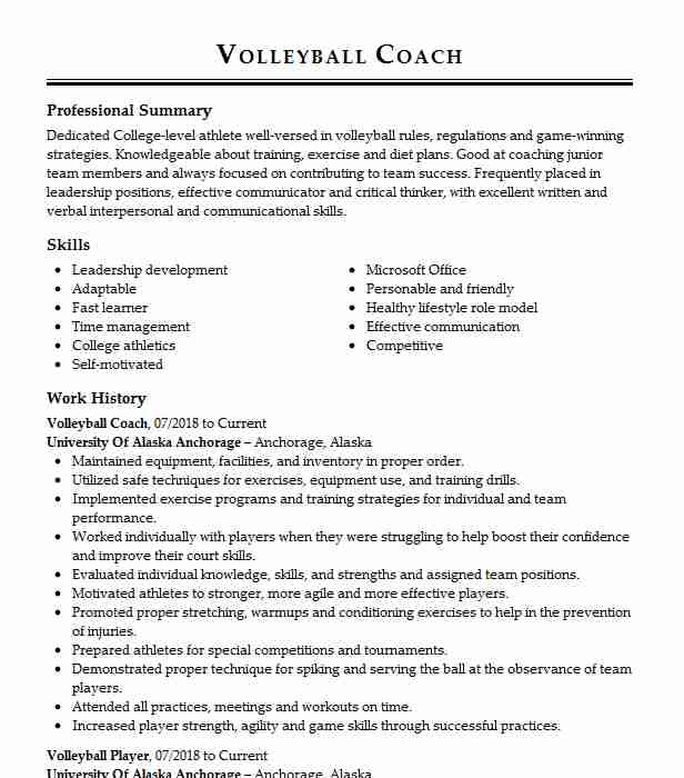 volleyball coach resume example resumes livecareer assistant sample high school for Resume Assistant Volleyball Coach Resume