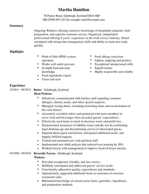 waitress cv template samples examples skills for on resume full conclusion sample the Resume Skills For Waitress On Resume