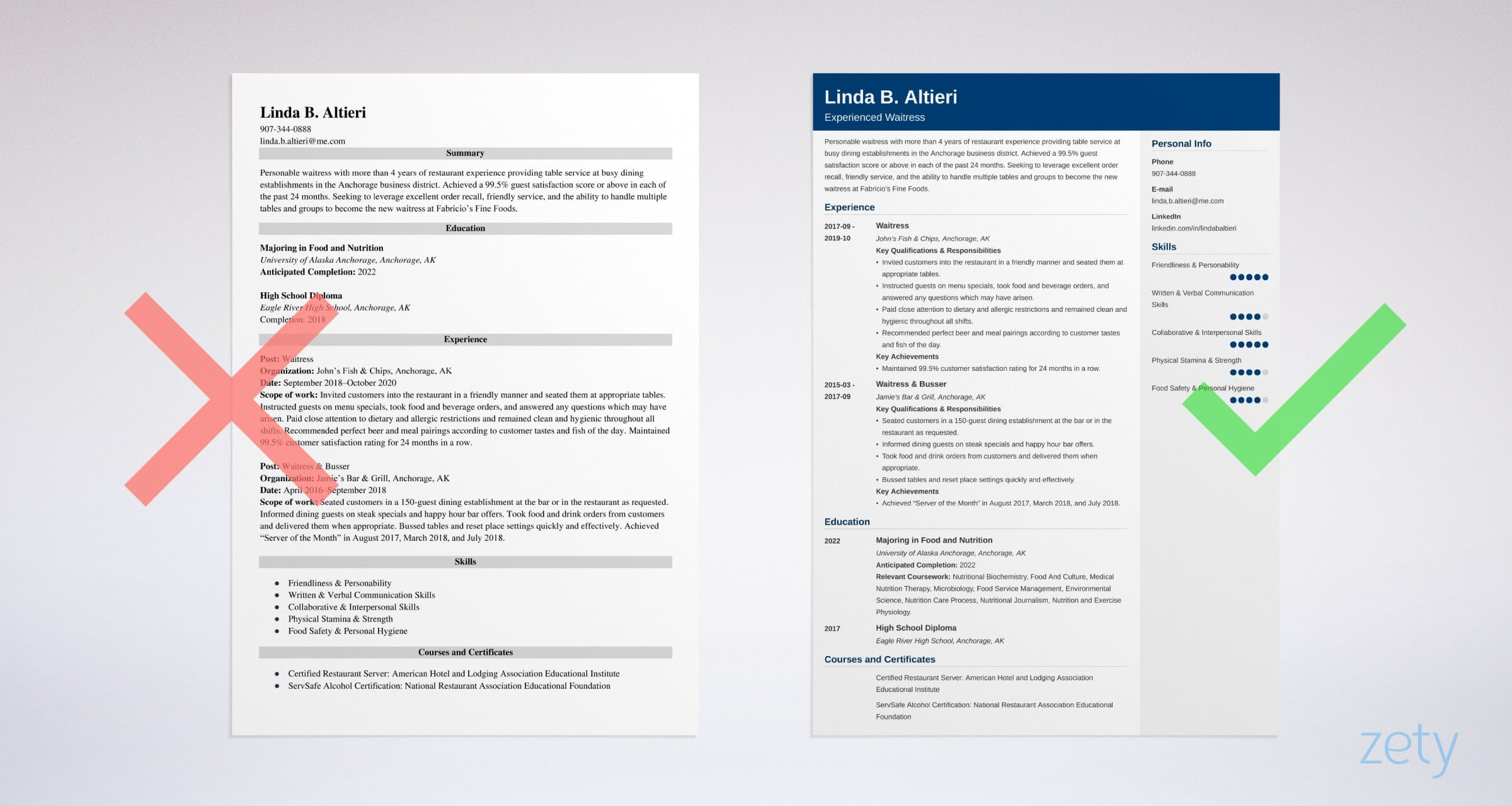 waitress resume examples writing guide skills template experience waiter example vs good Resume Waitress Resume Experience Examples