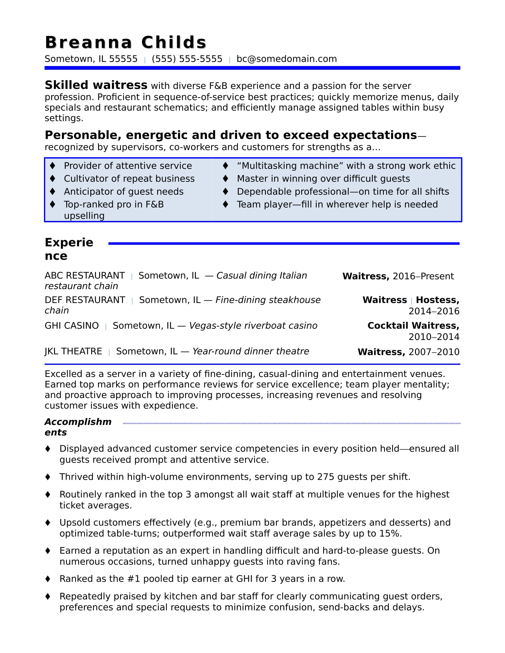 waitress resume sample monster skills for on best writers search the position general Resume Skills For Waitress On Resume