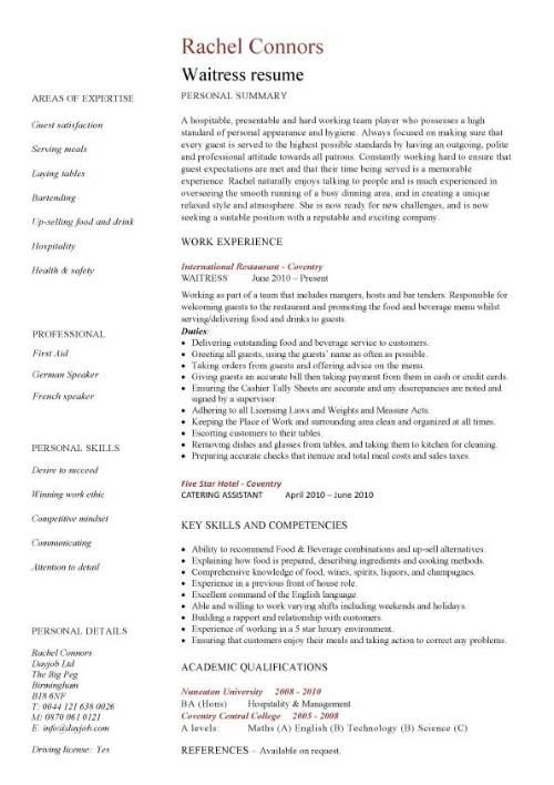 waitress resume template experience examples pic gis analyst skills on best linkedin Resume Waitress Resume Experience Examples