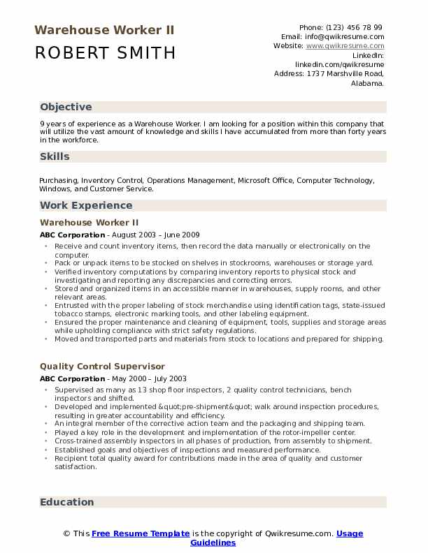 warehouse worker resume samples qwikresume good objective for pdf various types of format Resume Good Objective For Resume Warehouse