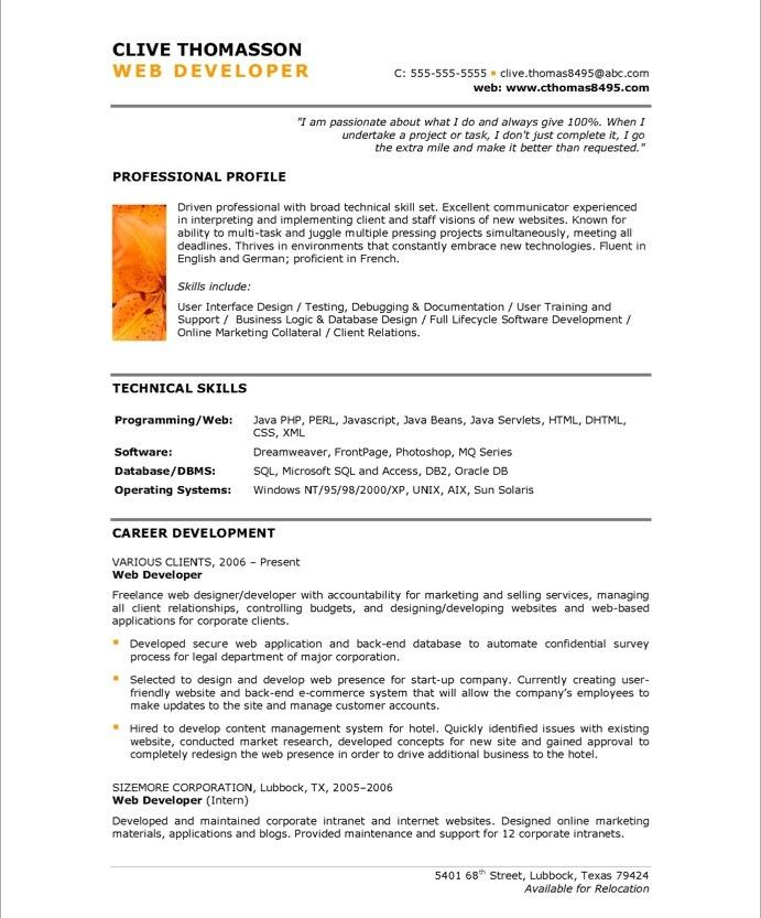 web developer page1 resume perl sample volunteer work on example the best format for Resume Perl Developer Resume Sample