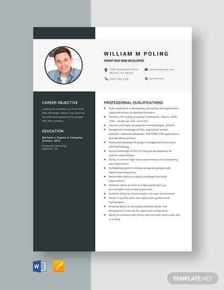 web developer resume templates pdf free premium front end template please see attached Resume Front End Web Developer Resume