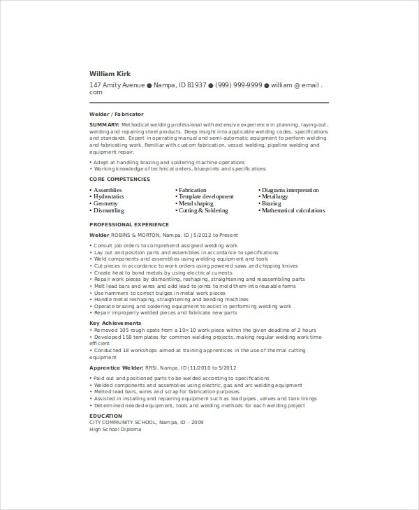 welder resume template free word pdf documents premium templates entry level welding Resume Entry Level Welding Resume