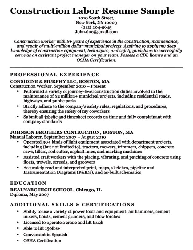 with concrete laborer resume format construction company freight forwarder making your Resume Construction Company Resume