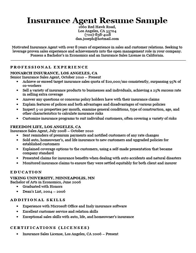 with insurance resume samples format agent job description objective for medical field Resume Insurance Agent Resume Job Description