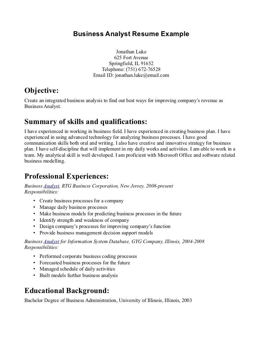 writing good resume objectives objective statement examples resumes example server Resume Business Administration Objective Resume