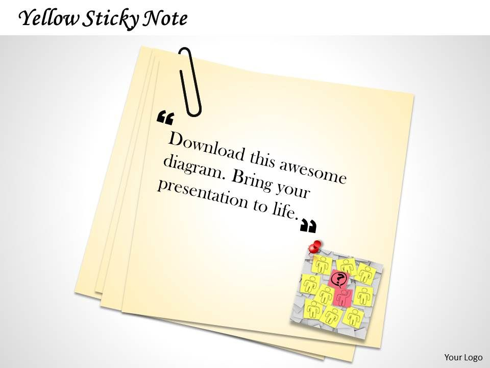 yellow sticky note with quotes presentation powerpoint templates slide slides design idea Resume Sticky Note Resume Template