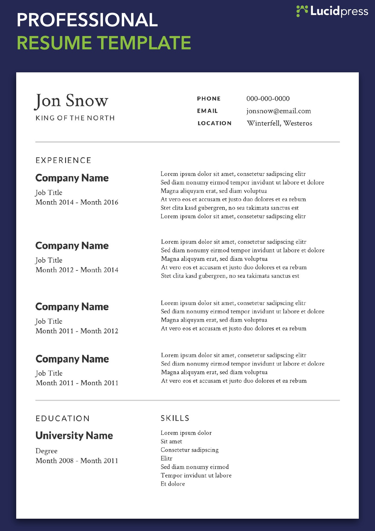 your resume formats guide for lucidpress professional layout template contoh jurnal Resume Professional Resume Layout