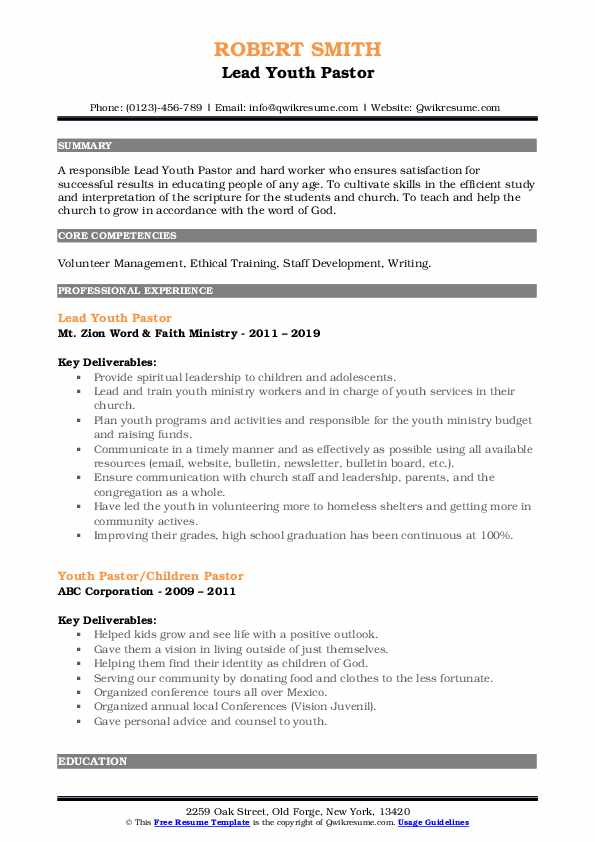 youth pastor resume samples qwikresume ministry objective examples pdf sap hcm year Resume Ministry Objective Resume Examples