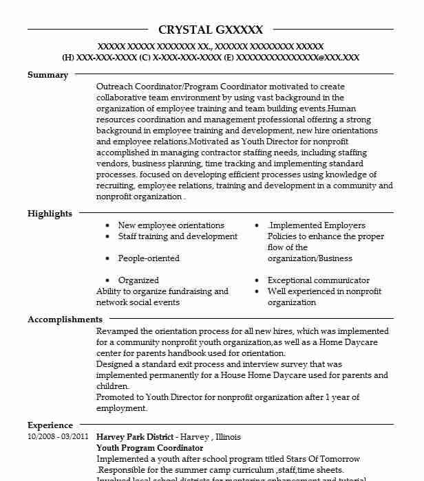youth program coordinator resume example resumes misc livecareer education quality Resume Education Program Coordinator Resume
