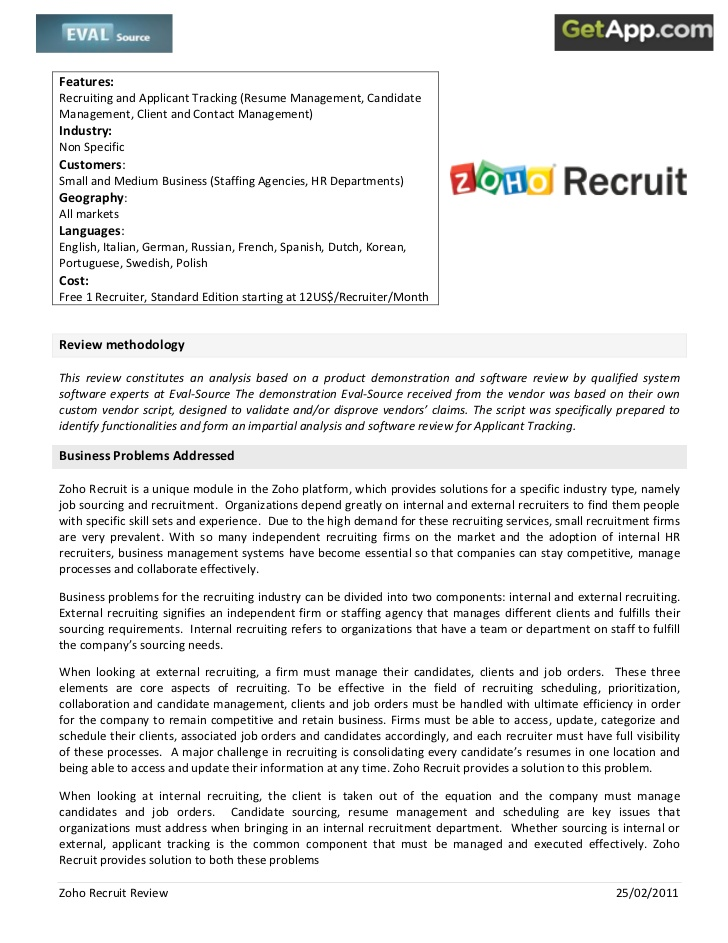 zoho recruit analyst review resume parser targeted military template health care aide Resume Zoho Recruit Resume Parser