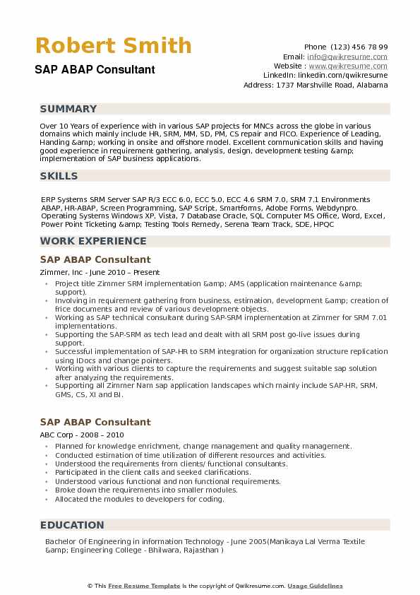 abap consultant resume samples qwikresume with erp experience pdf research associate Resume Resume With Erp Experience