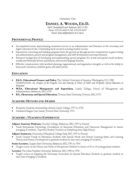 academic cv example teacher professor resume resource examples template for mysql Resume Resume Template For Professor