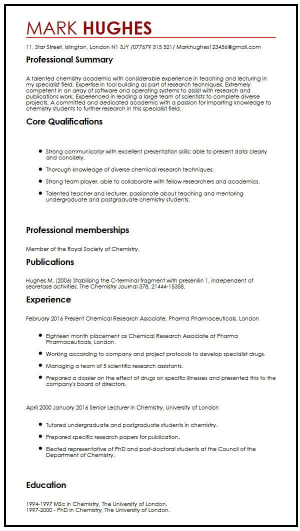 academic lecturer cv template best resume examples for zoology teacher with publications Resume Resume For Zoology Teacher