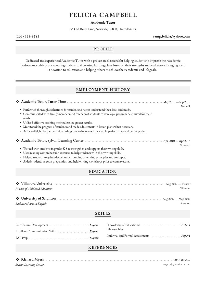 academic tutor resume examples writing tips free guide io another word for on references Resume Another Word For Tutor On Resume