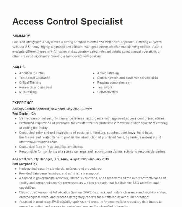 access control specialist resume example sos security barclaycard us junior analyst Resume Security Access Control Resume