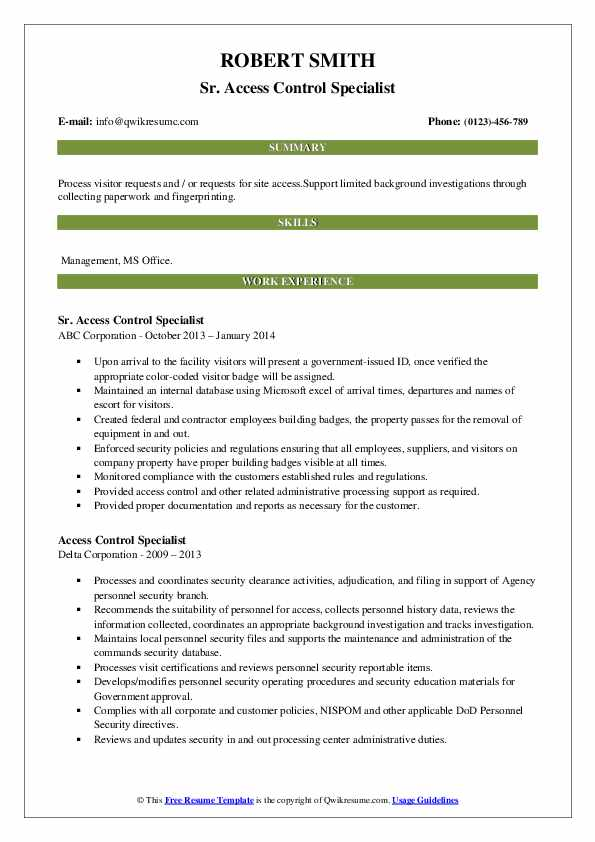 access control specialist resume samples qwikresume security pdf post graduate examples Resume Security Access Control Resume