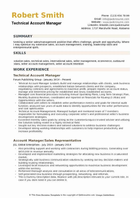 account manager resume example elegant samples marketing examples technical adjunct Resume Technical Account Manager Resume