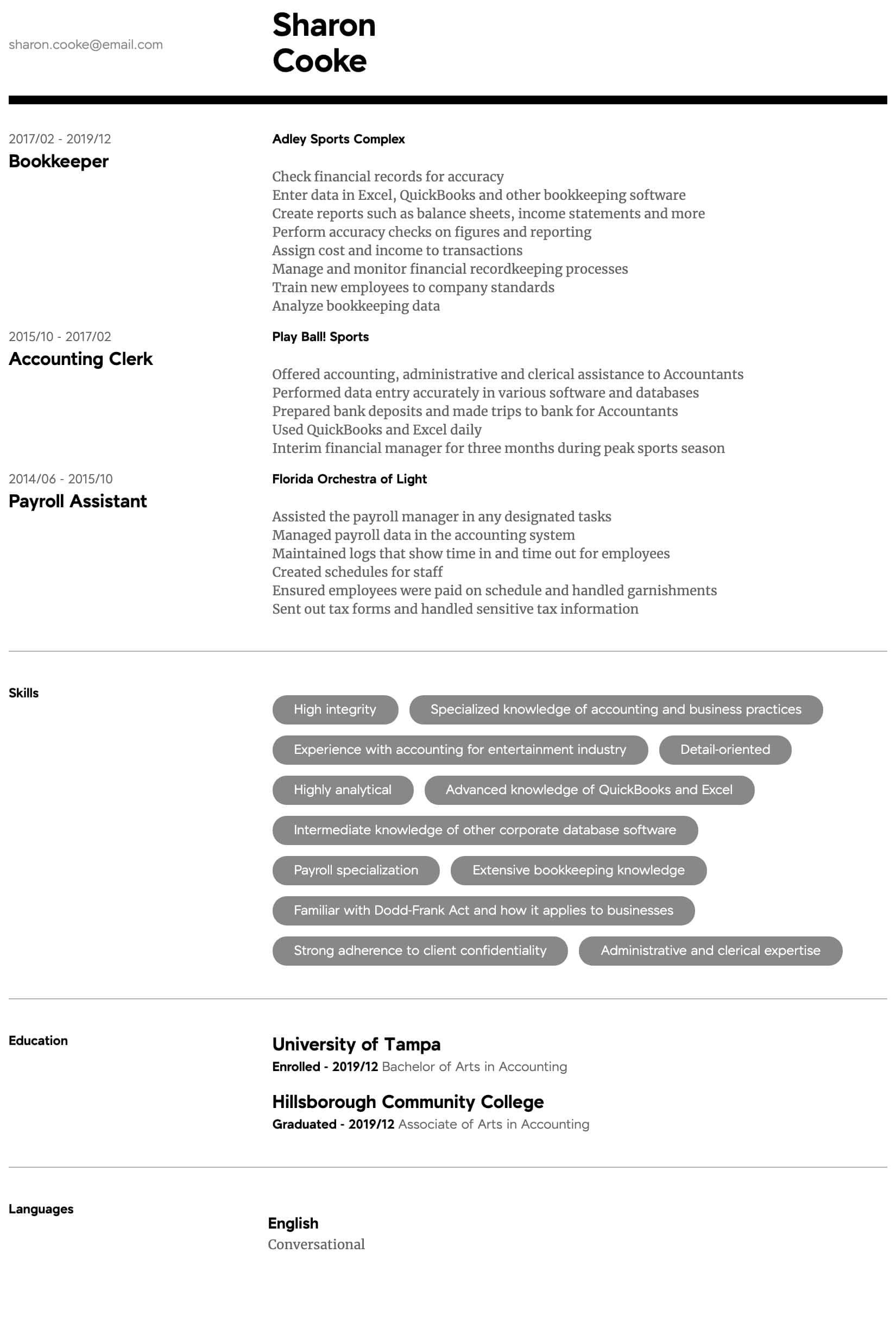 accountant resume samples all experience levels accounting skills summary intermediate Resume Accounting Resume Skills Summary