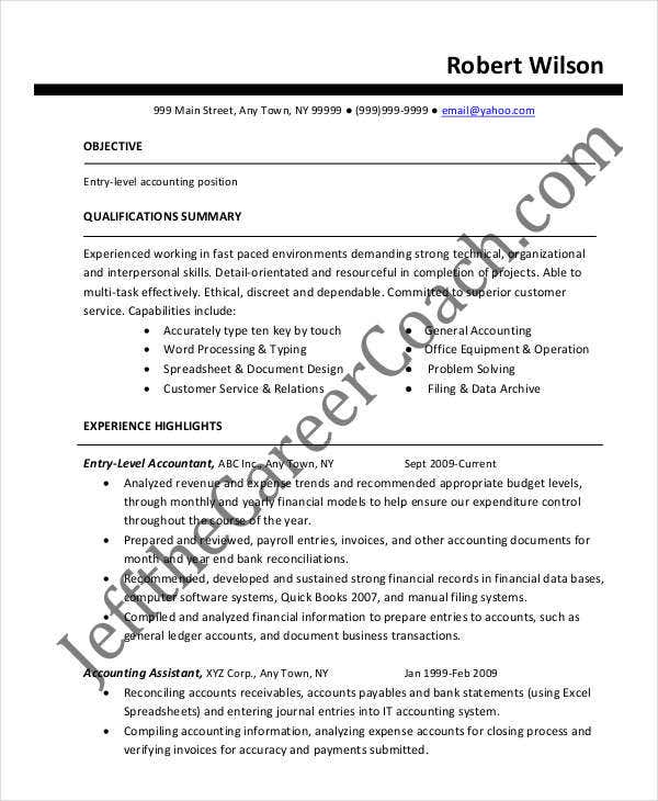 accountant resume templates in pdf free premium entry level staff examples example2 Resume Entry Level Staff Accountant Resume Examples