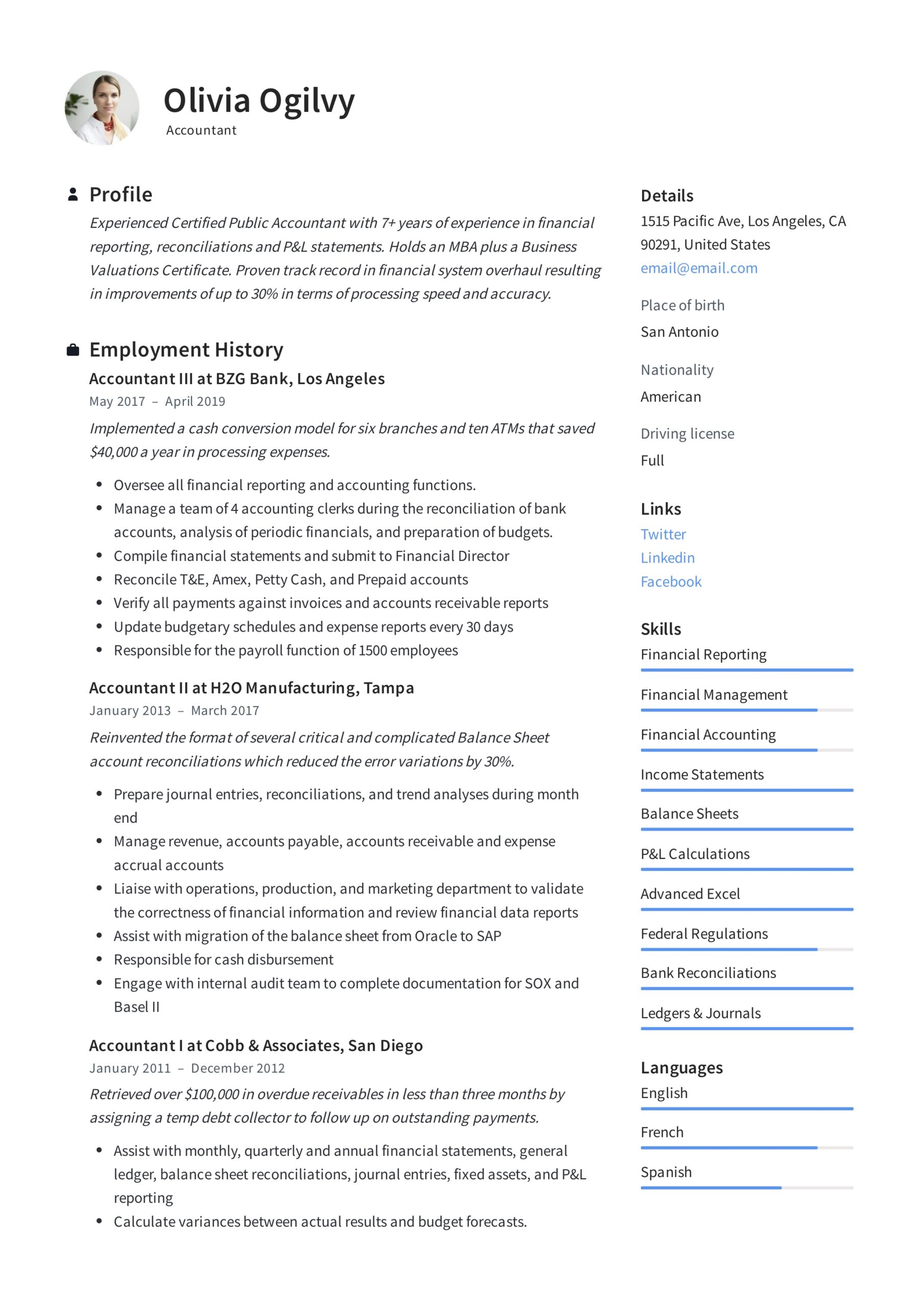 accountant resume writing guide templates pdf work experience olivia ogilvy best software Resume Work Experience Accountant Resume