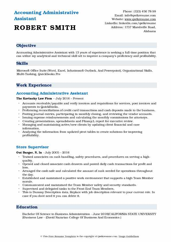 accounting administrative assistant resume samples qwikresume responsibilities pdf Resume Administrative Assistant Resume Responsibilities