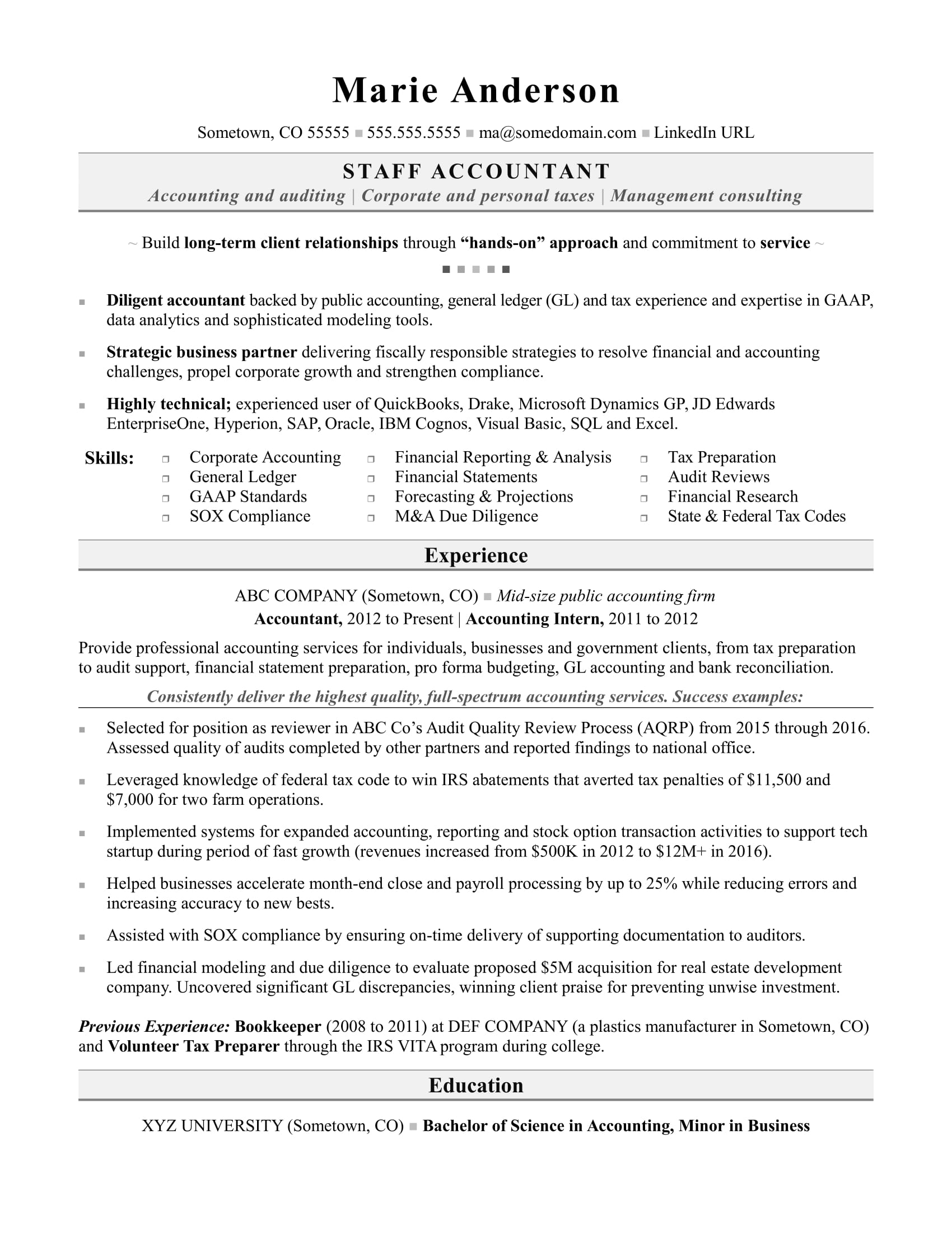 accounting resume sample monster entry level staff accountant examples conducted market Resume Entry Level Staff Accountant Resume Examples