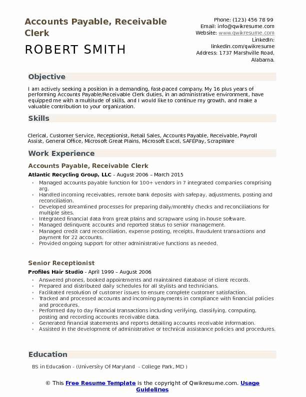 accounts payable job description resume new receivable clerk samples examples good for Resume Accounts Receivable Clerk Job Description For Resume