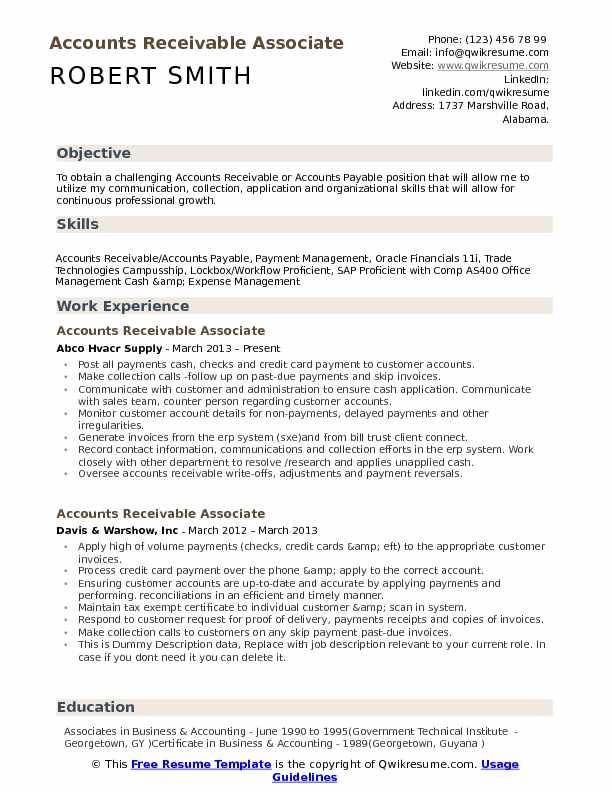 accounts receivable associate resume samples qwikresume examples pdf tailoring services Resume Accounts Receivable Resume Examples
