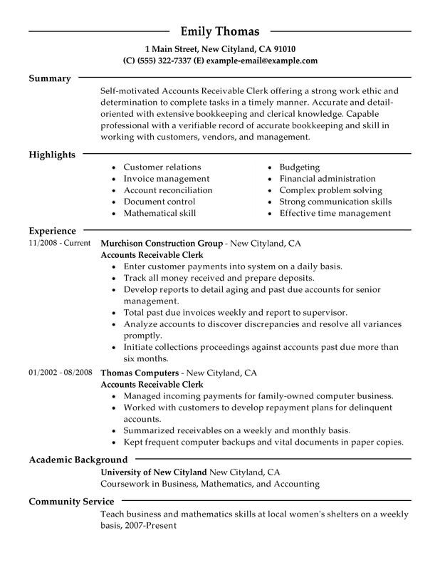 accounts receivable clerk resume examples free to try today myperfectresume clerical Resume Clerical Resume Summary