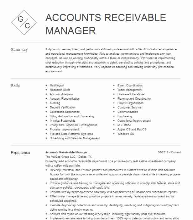 accounts receivable manager resume example the mentor network hollywood sample for Resume Accounts Receivable Manager Resume