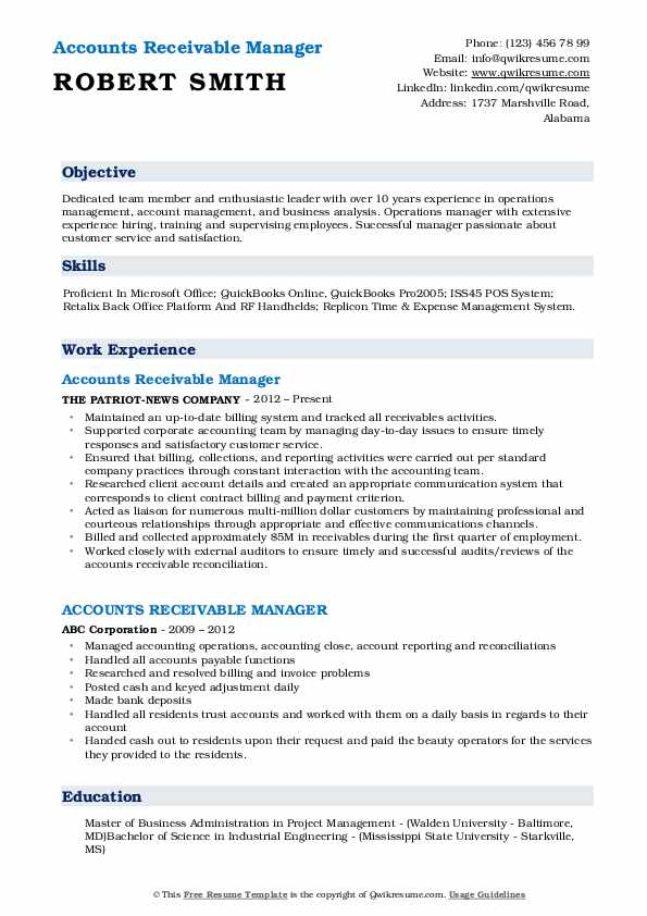 accounts receivable manager resume samples qwikresume pdf button wpm test for first job Resume Accounts Receivable Manager Resume