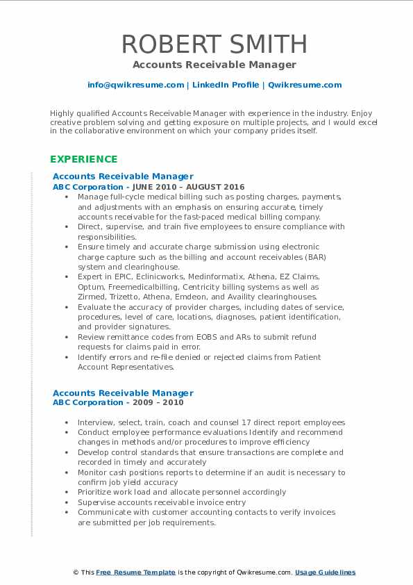 accounts receivable manager resume samples qwikresume pdf excellent career objective for Resume Accounts Receivable Manager Resume