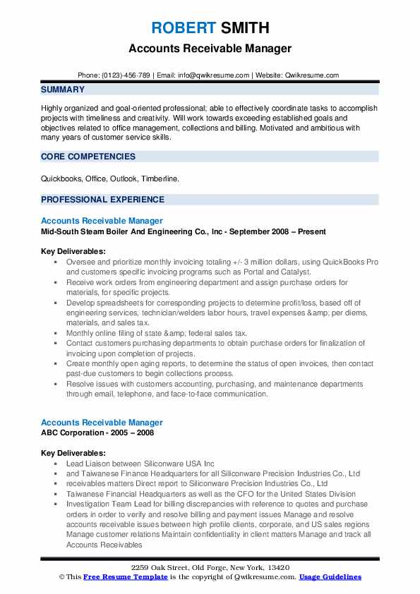 accounts receivable manager resume samples qwikresume pdf recognition and awards on types Resume Accounts Receivable Manager Resume