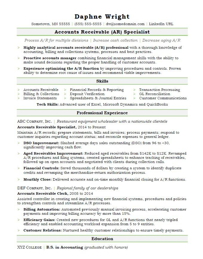 accounts receivable resume sample monster manager free nanny excellent career objective Resume Accounts Receivable Manager Resume