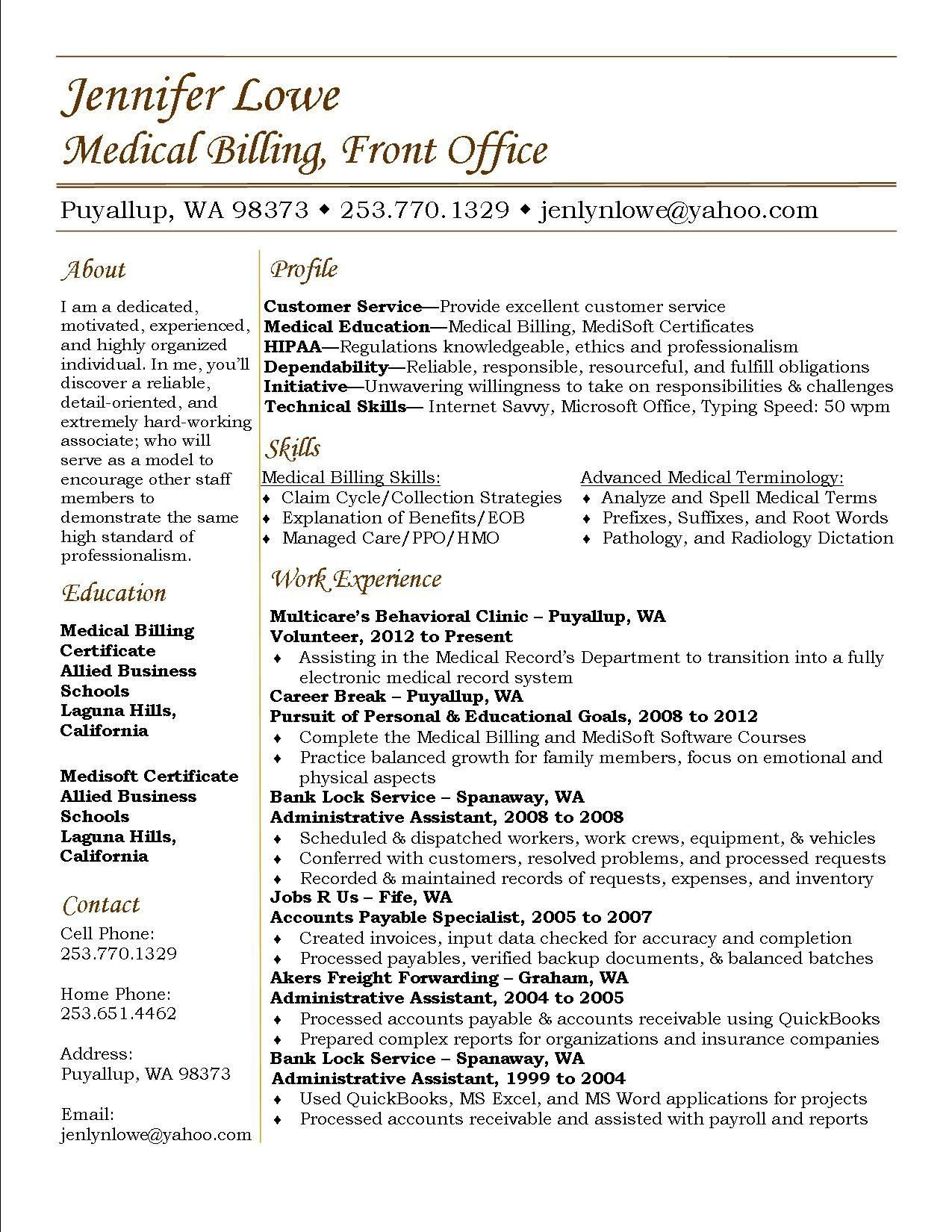 accounts receivable specialist medical billing and collections resume maintenance Resume Medical Billing And Collections Specialist Resume
