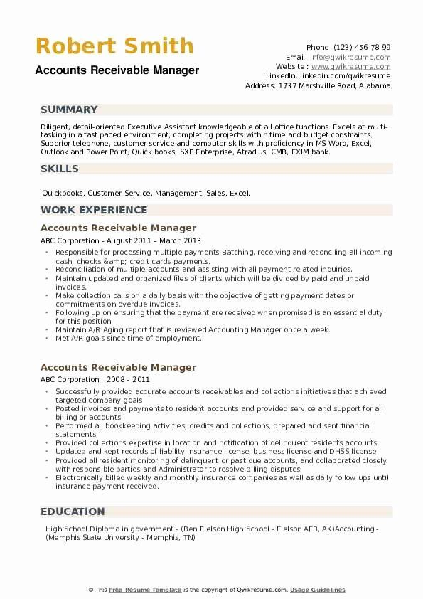 accounts receivables resume examples best of receivable manager samples production Resume Accounts Receivable Manager Resume