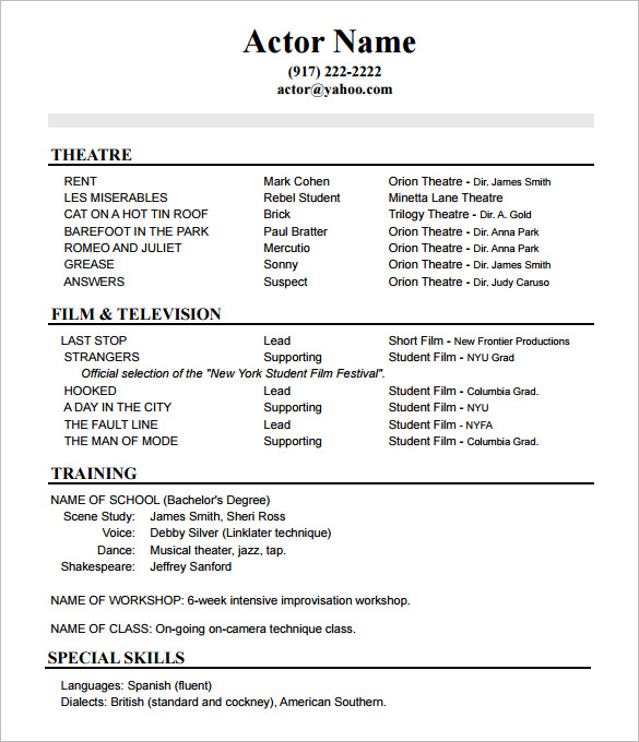acting resume advice from asc studio chicago skills for no experience template job Resume Skills For Acting Resume