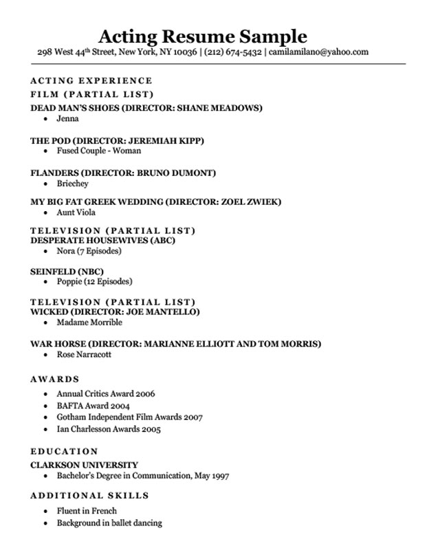 acting resume example ipasphoto skills for sample useful certifications email letter Resume Skills For Acting Resume