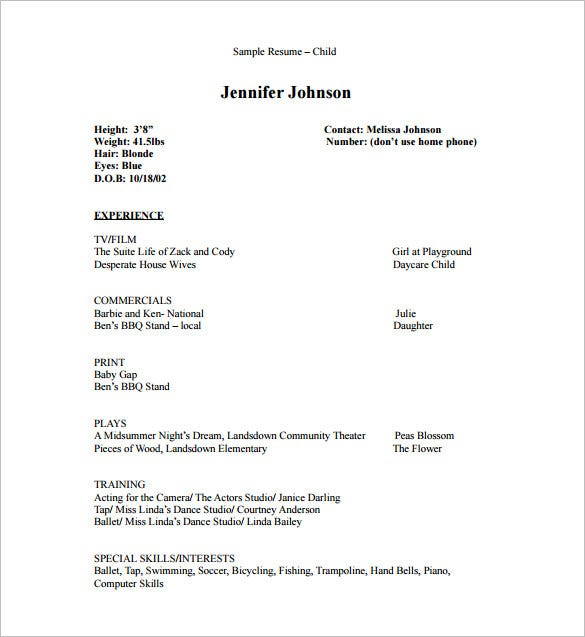 acting resume template free word excel pdf format premium templates skills for child Resume Skills For Acting Resume