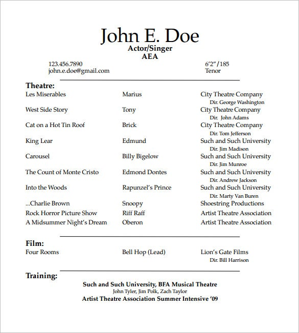 acting resume templates free samples examples formats premium theatrical template student Resume Theatrical Resume Template