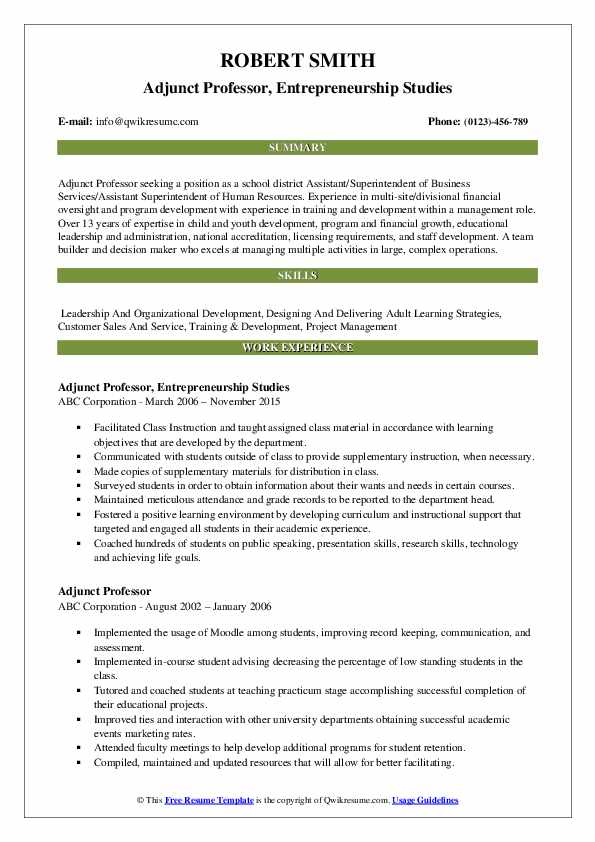 adjunct professor resume samples qwikresume template for pdf web developer acting Resume Resume Template For Professor