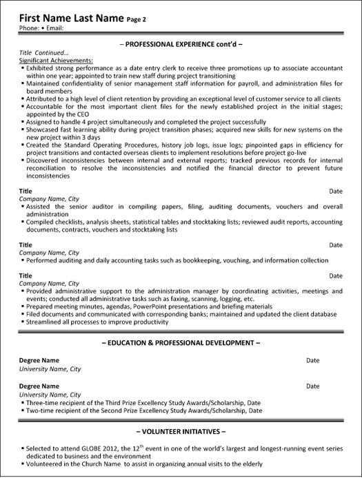administrative assistant resume sample template accounting executive p2 medical skills Resume Accounting Administrative Assistant Resume