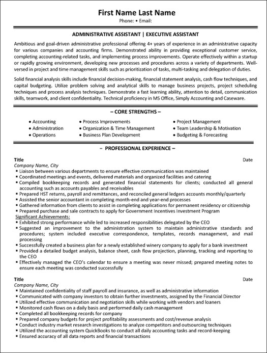 administrative assistant resume sample template professional executive federal event Resume Professional Administrative Assistant Resume