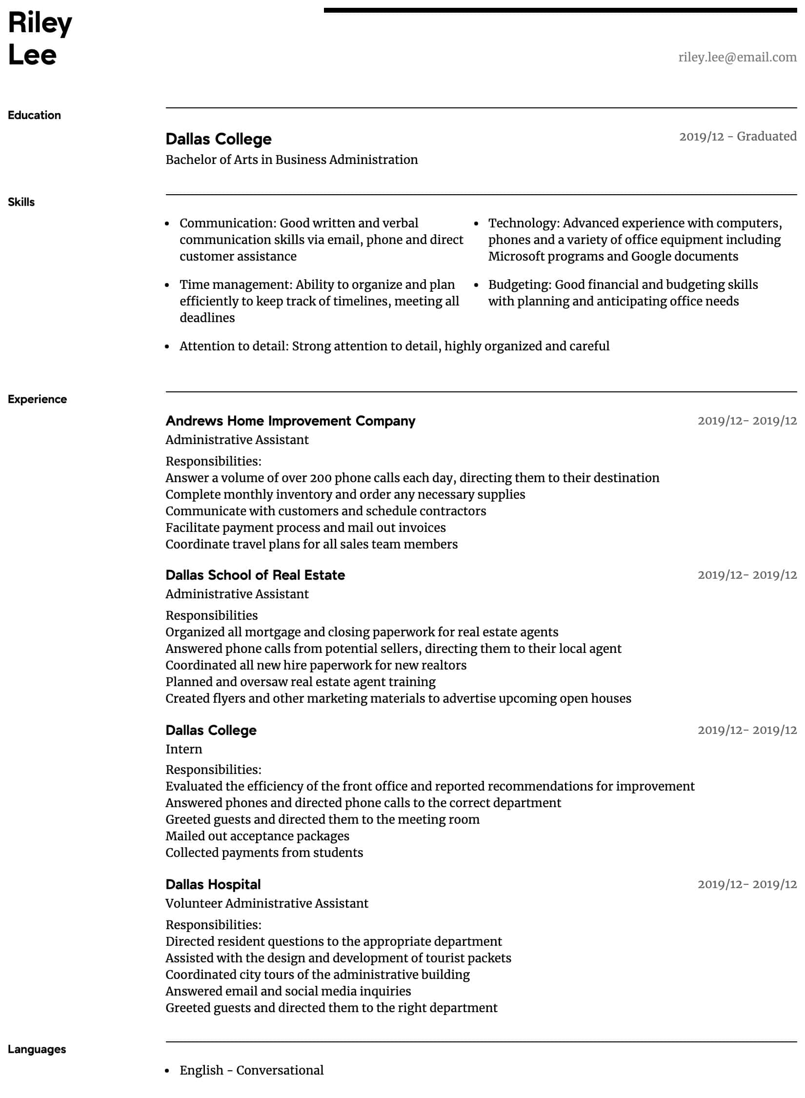 administrative assistant resume samples all experience levels format for front office Resume Resume Format For Front Office Assistant