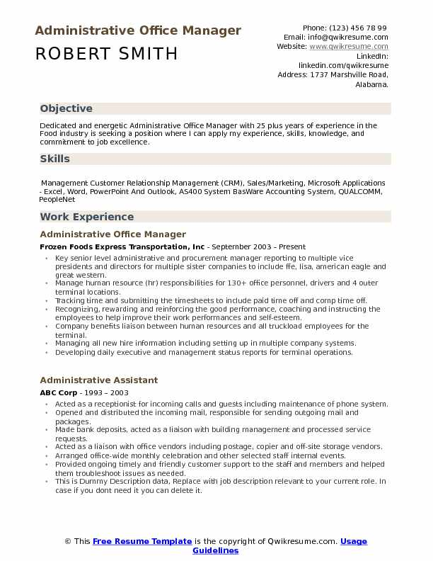 administrative office manager resume samples qwikresume construction pdf template Resume Construction Office Manager Resume